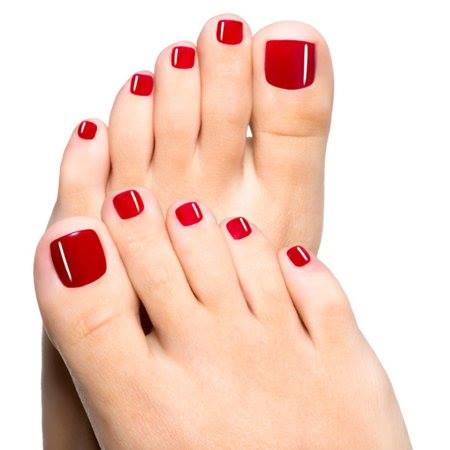 Red nails on feet